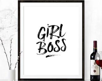 Girl Boss Wall Print, Girl Boss Printable, Printable Quote, Girl Boss Print, Motivational Print, Inspirational Print, Inspirational Quote