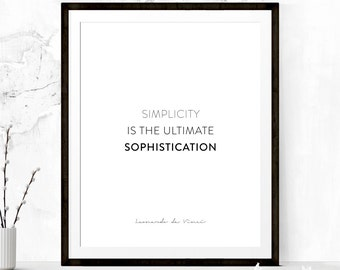 Simplicity Inspirational Poster, Quote Poster, Quote Printable, Motivational Print, Typography Print, Typography Printable, Minimalist Print