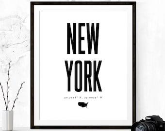 New York Latitude Longitude Print, New York Poster, Typography Poster, NYC Print, Printable Art, Fashion Print, Custom City Coordinates