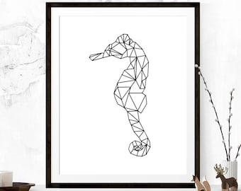 Geometric Seahorse, Seahorse Art, Origami Art Print, Seahorse Wall Art, Printable Art, Seahorse Wall Print, Printable Art, Nursery Print