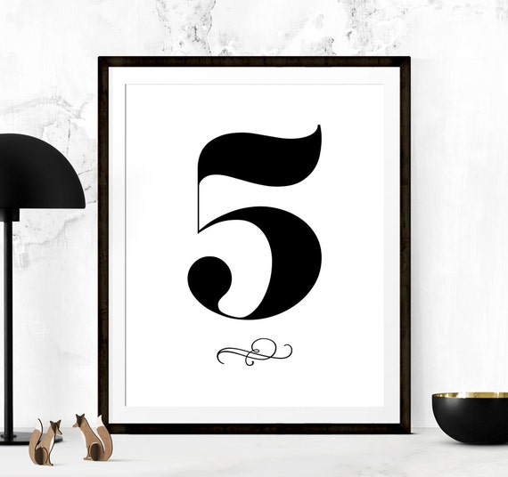 Number 5 Print Number Printable Number 5 Sign Number | Etsy