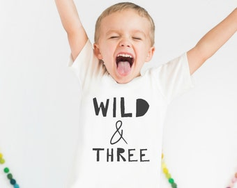 Kids Birthday Shirt, Wild and Three Kid Birthday Shirt, Boy Birthday Shirt, kids clothing, kids birthday shirt, MaxandMaeKids, max and mae