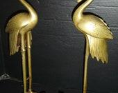 Antique Exquisite Pair of Large Japanese Bronze Figures of Cranes Meiji Period Standing On Dragon Turtles.