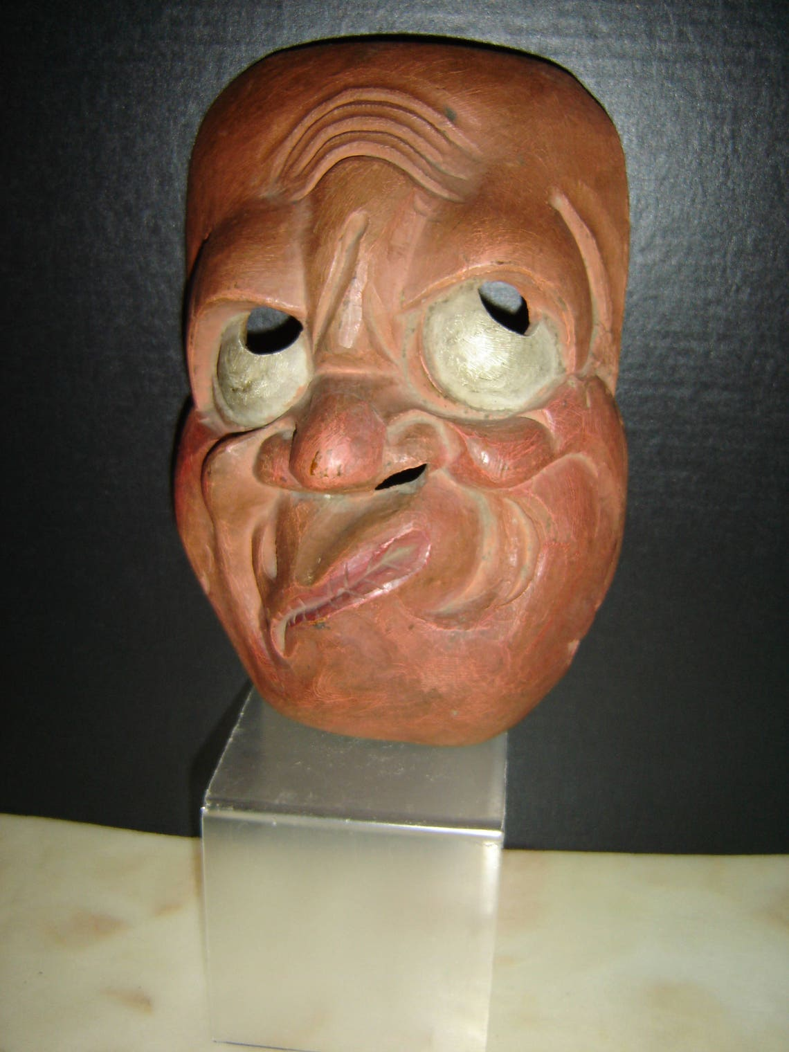 Antique Austria Carved Wood Hand Painted Grotesque Carnival Festival Mask Circa 1890 Rare.