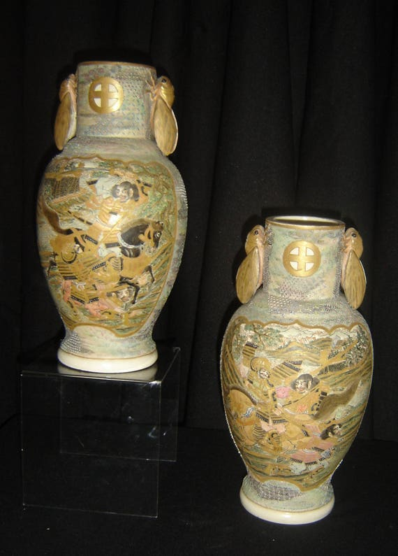 Antique Japan Meiji Pair Of Imperial Satsuma Vases Cicadas Etsy