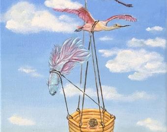 fairy tale painting, original painting, animal painting, bird painting, fine art, home decor, 22*33cm