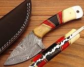 Custom Hand Forged Damascus Steel Knife  W/Sheath