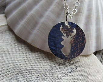 Deer pendant, stag pendant, country style // Deer silhouette sterling silver pendant // fall limited edition // ready to ship