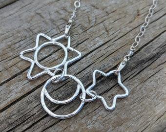 Mama metal fine silver centerpiece wine glass charm silver necklace