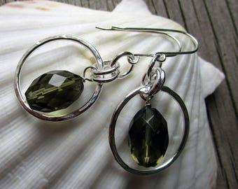 Quartz hoop earrings, silver earrings, dangle earrings, gift for her, handmade earwire // Green Smoky Quartz fancy earring // ready to ship