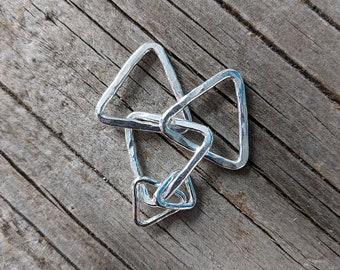 Silver nursing necklace, mama metal, gift for her, geometric // Triangles fine silver centerpiece // ready to ship