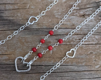 Double clasp chain necklace convertible length - red coral sterling silver chain -  mama metal chain