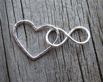 Silver nursing necklace, mama metal, gift under 25, gift for her, new mom // Infinity Heart fine silver centerpiece // ready to ship