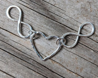 Silver nursing necklace, mama metal, gift for her, heart charm // Heart and Infinity fine silver centerpiece // ready to ship