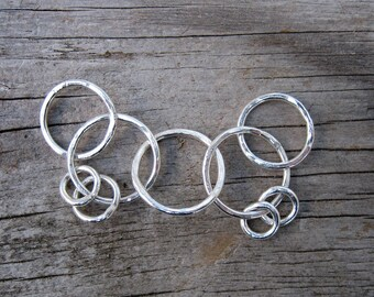 Silver nursing necklace - fine silver fidget circles - jewelry for parents