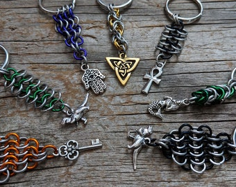 Chainmaille keychain with charm -  assorted design - lightweight keychain