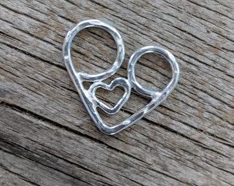 Silver nursing necklace, mama metal, babywearing charm, breastfeeding // The Snuggle fine silver charm // ready to ship