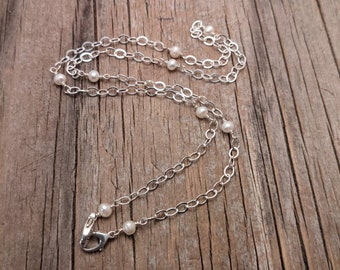 """Sterling double clasp chain necklace -  mama metal chain - white freshwater pearl 19.5"""""""