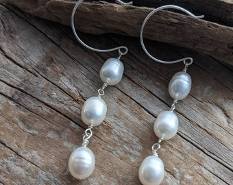 Handmade bridal jewelry - sterling silver and oval white pearls - freshwater pearl dangle earrings