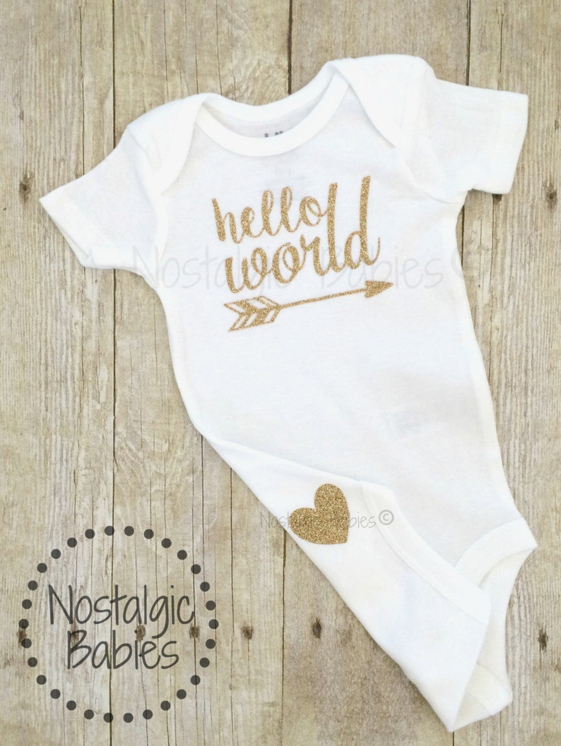 75846f9c Glitter gold hello world bodysuit New born outfit glitter | Etsy