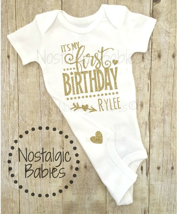 Its My First Birthday Gold One Outfit Glitter