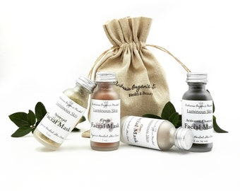 Organic Facial Mask Sampler Gift Set, Natural Face Mask Minis for All Skin Types, Gift for Her, Stocking Stuffer, Eco Friendly Gifts