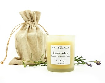 Lavender Aromatherapy Candle, Coconut Beeswax Candle, Lavender Essential Oil Candle, Eco Friendly Candles, Non Toxic Candle, Hemp Wick
