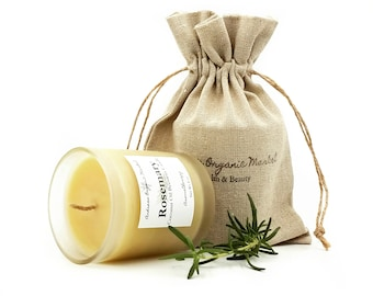 Organic Rosemary Aromatherapy Candle made with Coconut Oil and Beeswax, Essential Oil Candle with Eco Friendly Hemp Wick