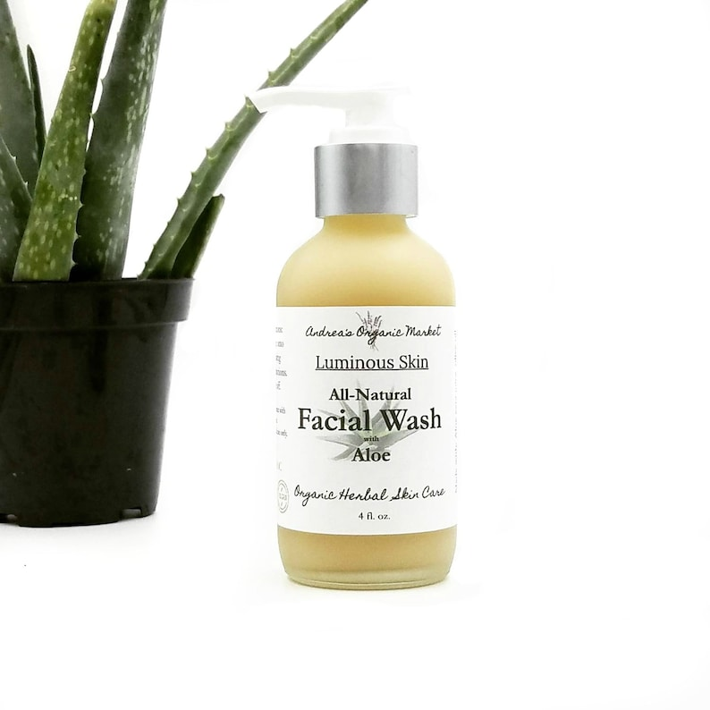 Organic Aloe Face Wash Unscented Liquid Facial Cleanser image 4