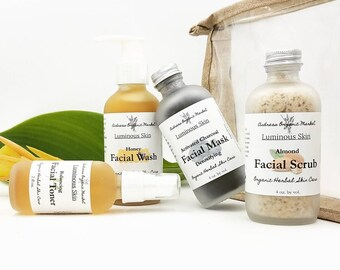 Organic Facial Care Set, Gift for Her, Eco Friendly Set, Natural Skin Care Gift, Complete Facial Care Set, Travel Beauty Set, Skin Care Set