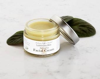 Organic Herbal Anti Aging Face Cream with Argan & Rosehip Oils, Natural Wrinkle Reducing Facial Moisturizer, Zero Waste