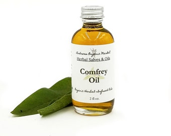 Organic Comfrey Leaf Infused Oil, Herbal Oil for Minor Wounds, Eco Glass Reusable Bottle, Herb infused Oils, Natural Comfrey Body Oil