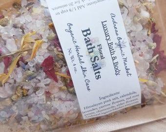 Organic Floral Bath Salts, Dried Flowers Bath Soak, Pink Soaking Salts, Organic Bath Salts, Dried Flower Bath Salts, Vegan Skin Care