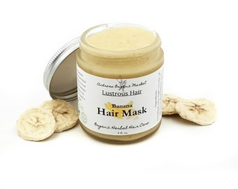 Organic Banana Hair Mask, Vegan Deep Conditioner, Natural Damaged Hair Treatment, Organic Plant Based Hair Care, Conditioning Mask