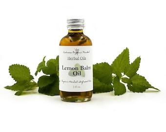 Organic Lemon Balm Infused Oil, Herbal Oil for Salve Making or Body Oil, Vegan