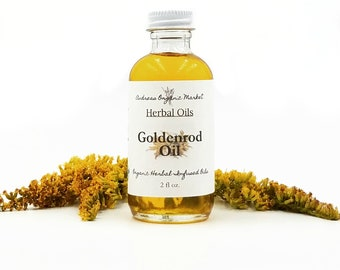 Organic Goldenrod Infused Oil, Herbal Body Oil for Eczema or Arthritis Pain & Inflammation in a Glass Bottle, Vegan