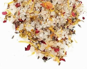 Organic Floral Bath Salts, Himalayan Pink Salt with Herb Flowers Bath Soak in a Reusable Glass Jar