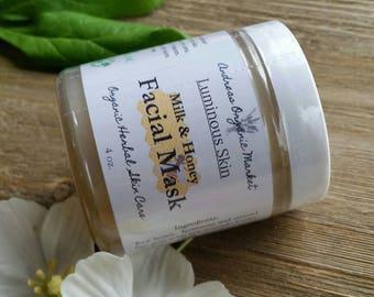 Organic Raw Honey and Goat Milk Facial Mask, Natural Face Mask, Moisturizing Face Mask, Organic Facial Care, Natural Skin Care, Organic Mask
