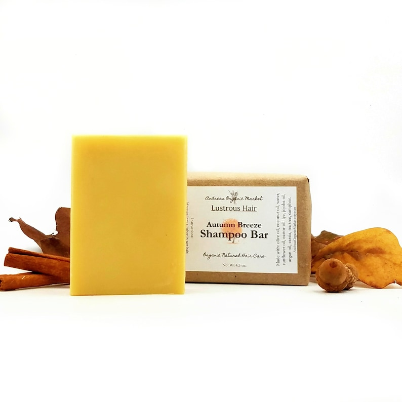Organic Autumn Breeze Shampoo Bar with Argan & Jojoba Oils, Hair Cleanser  for All Hair Types in Plastic Free Packaging