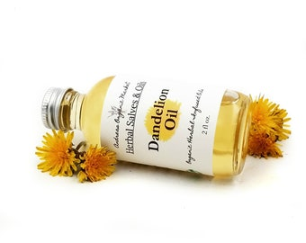 Organic Dandelion Flower Infused Oil for Minor Wounds, Herbal Bath Oil in Glass Packaging, Vegan Body Oil Infused with Herb Flowers