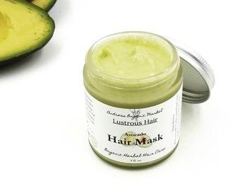 Organic Avocado Hair Mask, Vegan Deep Conditioner, Natural Damaged Hair Treatment, Plant Based Conditioning Mask, Zero Waste Hair Care