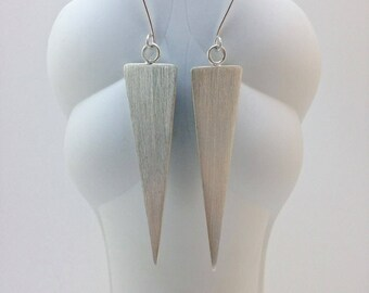 Triangle Silver Earrings - Geometric Silver Earrings - Minimalist Silver Earrings