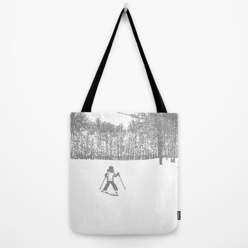 Market Bag Book Bag Reusable Bag,Kids Bag,Winter Bag,School accessory Little Skier 2 grey Ski Bag Tote Bag Gift Bag,Holiday,Skiing