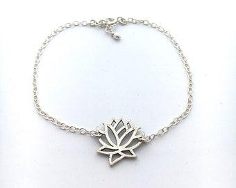 Silver lotus bracelet, sterling silver lotus bracelet, lotus flower charm, dainty bracelet, yoga jewelry