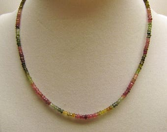 AAA TOURMALINE BEADED Necklace  **  3MM Tourmaline Multi-Color Beads  **  Watermelon Tourmaline