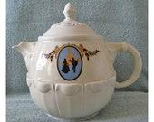 CAMEO pot Vintage Ceramic Porcelain teapot tolpa Massillon Ohio dripolator mid century 1960s Enterprise Aluminum Company