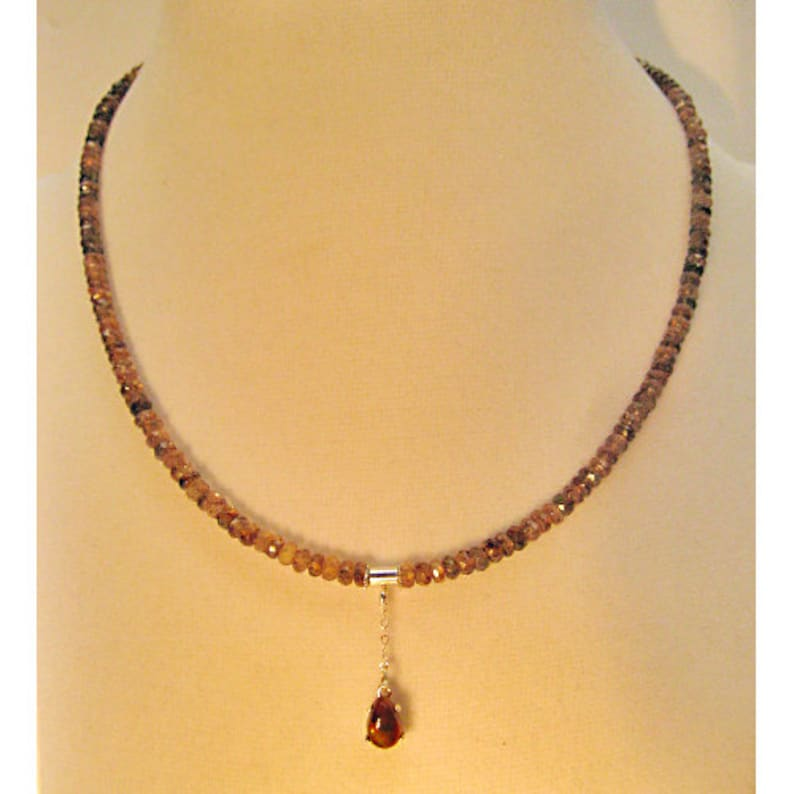 Andalusite Beaded Necklace with Fire Agate Pendant  **  FREE U.S SHIPPING  **  Tolpa  **