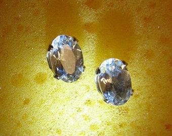 Aquamarine and Sterling Stud Earrings