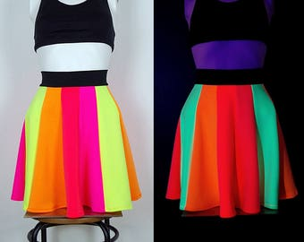 Rainbow UV Rave Psytrance Skirt/ Glowing Circle Skirt, Festival, PLUR, Blacklight