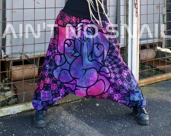 Aum Ganesha Tie Dye for Psytrance Festivals, Goa Party Pants, purple